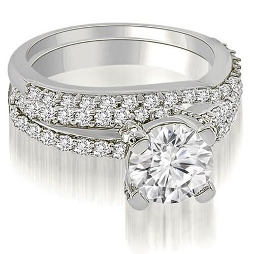 1.70 cttw. 14K White Gold Two Row Lucida Round Cut Diamond Bridal Set