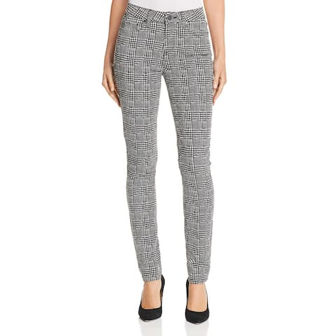 Paige Womens Hoxton Skinny Jeans Mid-Rise Houndstooth - Black/Cream - 24