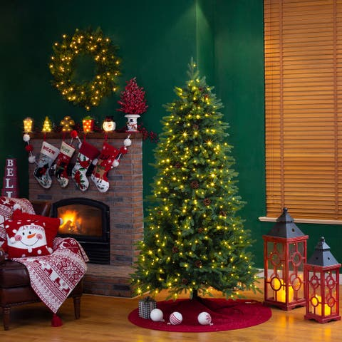 Glitzhome Pre-Lit Green Fir Artificial Christmas Tree with LED Warm Lights and Remote Controller