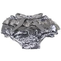 Baby Girls Grey Scroll Pattern Ruffle Lace Bow Diaper Cover Bloomers 0-6M - 18 months