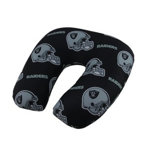 NFL Oakland Raiders Beaded Travel Neck Pillow - Black