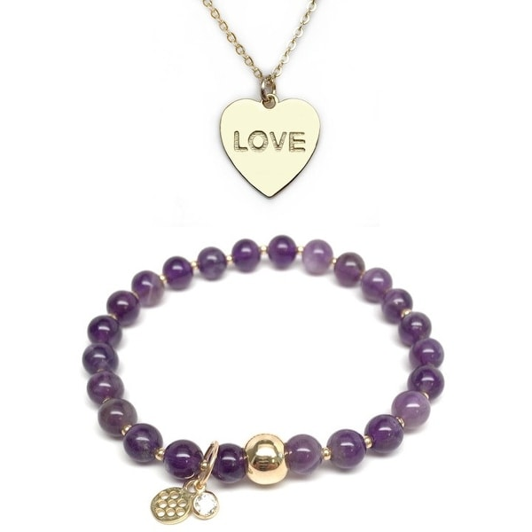 "Purple Amethyst 7"" Bracelet & Love Heart Gold Charm Necklace Set"