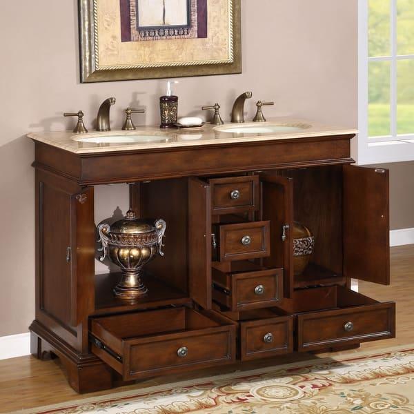 Silkroad Exclusive Mesa 48 Inch Double Sink Bathroom Vanity Overstock 4777463 Travertine Stone Top