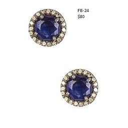 Genuine 2 cts Blue Sapphire and Diamond Stud Earrings Push back Sterling Silver