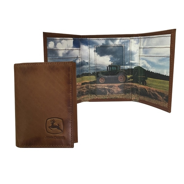 John Deere Western Wallet Mens Leather Trifold Leather Tan - One size