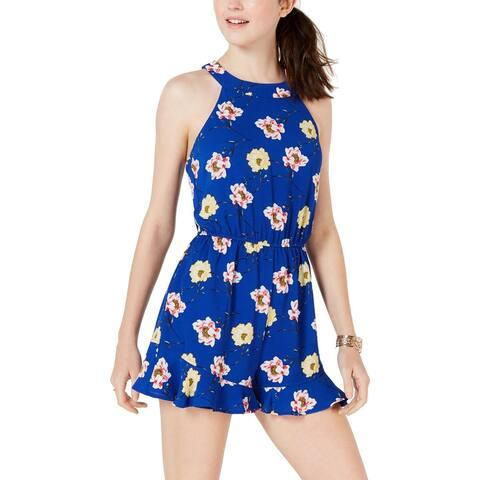Trixxi Womens Juniors Romper Floral Ruffled - Blue Multi - L