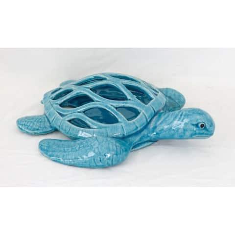 Blue Ceramic Sea Turtle Open Backed
