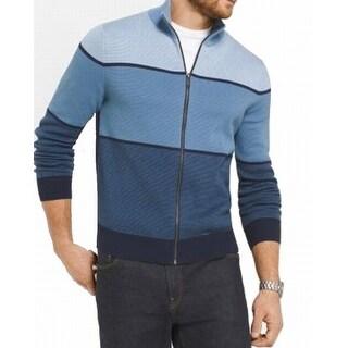 Michael Kors NEW Blue Mens Size Large L Colorblock Full Zip Sweater