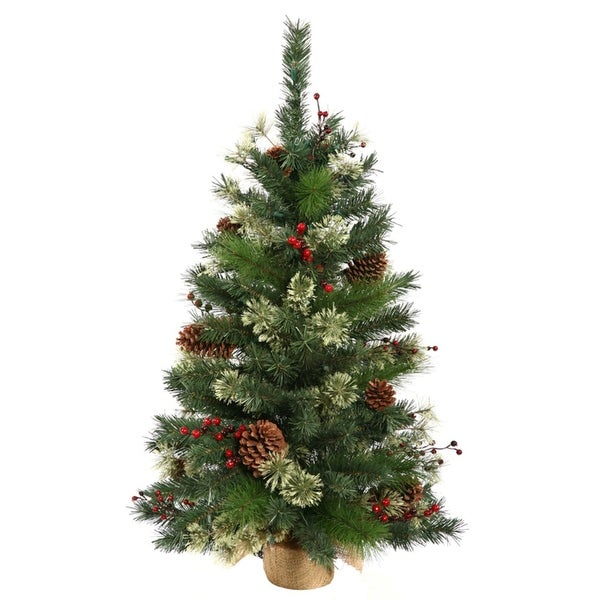 2' Nisswa Berry Pine Artificial Christmas Tree with Burlap Base - Unlit