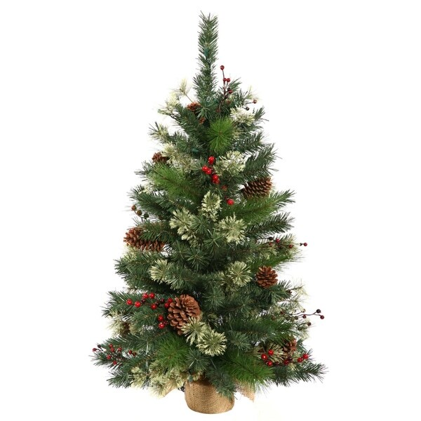 3.5' Nisswa Berry Pine Artificial Christmas Tree with Burlap Base - Unlit