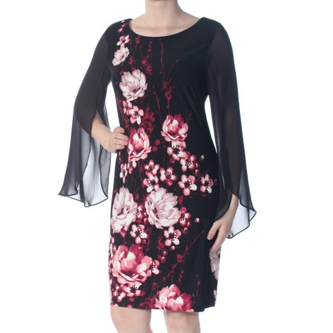 CONNECTED Womens Black Sheer Floral Long Sleeve Jewel Neck Knee Length Sheath Cocktail Dress Size: 8