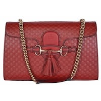 "Gucci Women's 449635 Red Micro GG Guccissima Leather Emily Purse Handbag - 11.8"" x 7.3"" x 3"""