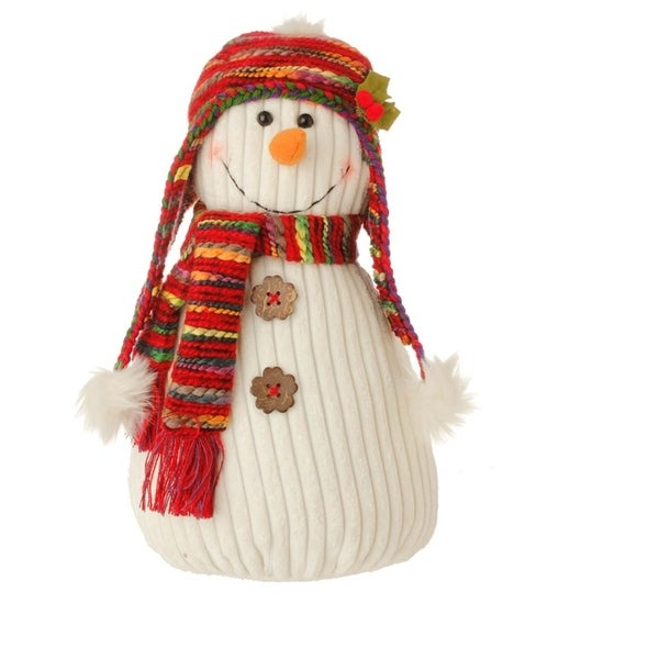 """14"""" Bohemian Holiday Plush Snowman w/ Colorful Knit Hat and Scarf Christmas Decoration - WHITE"""