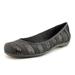 INC International Concepts Zabel Women Round Toe Canvas Black Flats