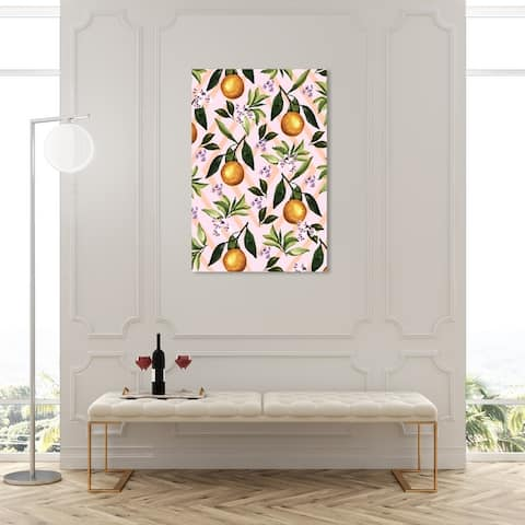 Oliver Gal 'Lemon Plant' Food and Cuisine Wall Art Canvas Print Fruits - Pink, Green