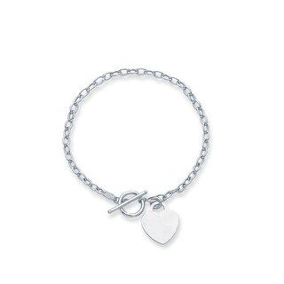 Mcs Jewelry Inc 14 KARAT WHITE GOLD HEART DANGLE CHARM BRACELET