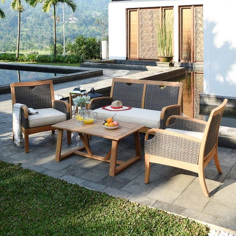 Cambridge Casual Palma 4-piece Teak Wicker Outdoor Conversation Set