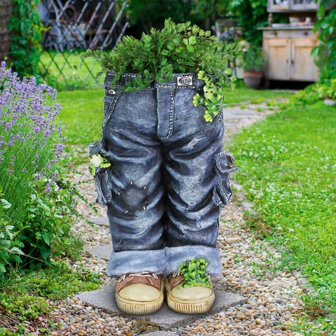 Exhart Hand Painted Standing Blue Jeans with Frogs Resin Planter, 13 by 19.5 Inches