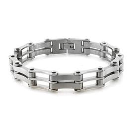 Titanium High Polish Biker Chain Link Bracelet - 8.5 inches