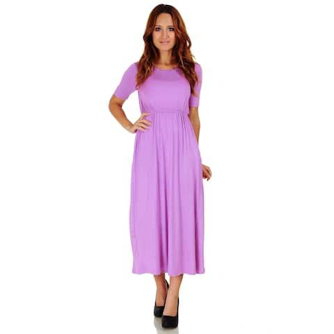 3a2141680134 Simply Ravishing Women's Half Sleeve Full Length Maxi Blouson Dress with  Pockets (Size: S