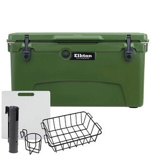 75 Quart Camping Cooler - Large Insulated Ice Chest with Bear-Resistant Lock Plates, Bottle Opener, and Fishing Accessories