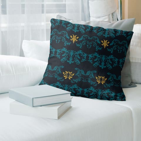 Jacksonville Football Baroque Pattern Accent Pillow-Cotton Twill