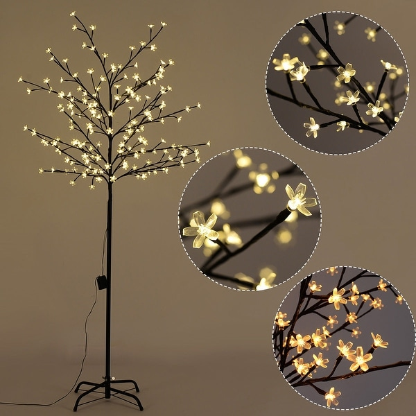 6d762ca3fd2e Costway Christmas Xmas Cherry Blossom LED Tree Light Floor Lamp Holiday  Decor Warm White