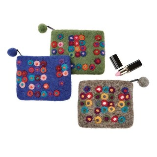 Hamro Village Women's Pretty Dots Coin Purse - Zippered Accessory Pouch - One size
