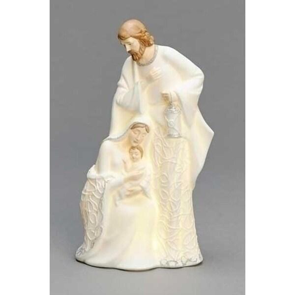 "8.75"" Inspirational Gifts LED Lighted Religious Holy Family Porcelain Christmas Nativity Figure"