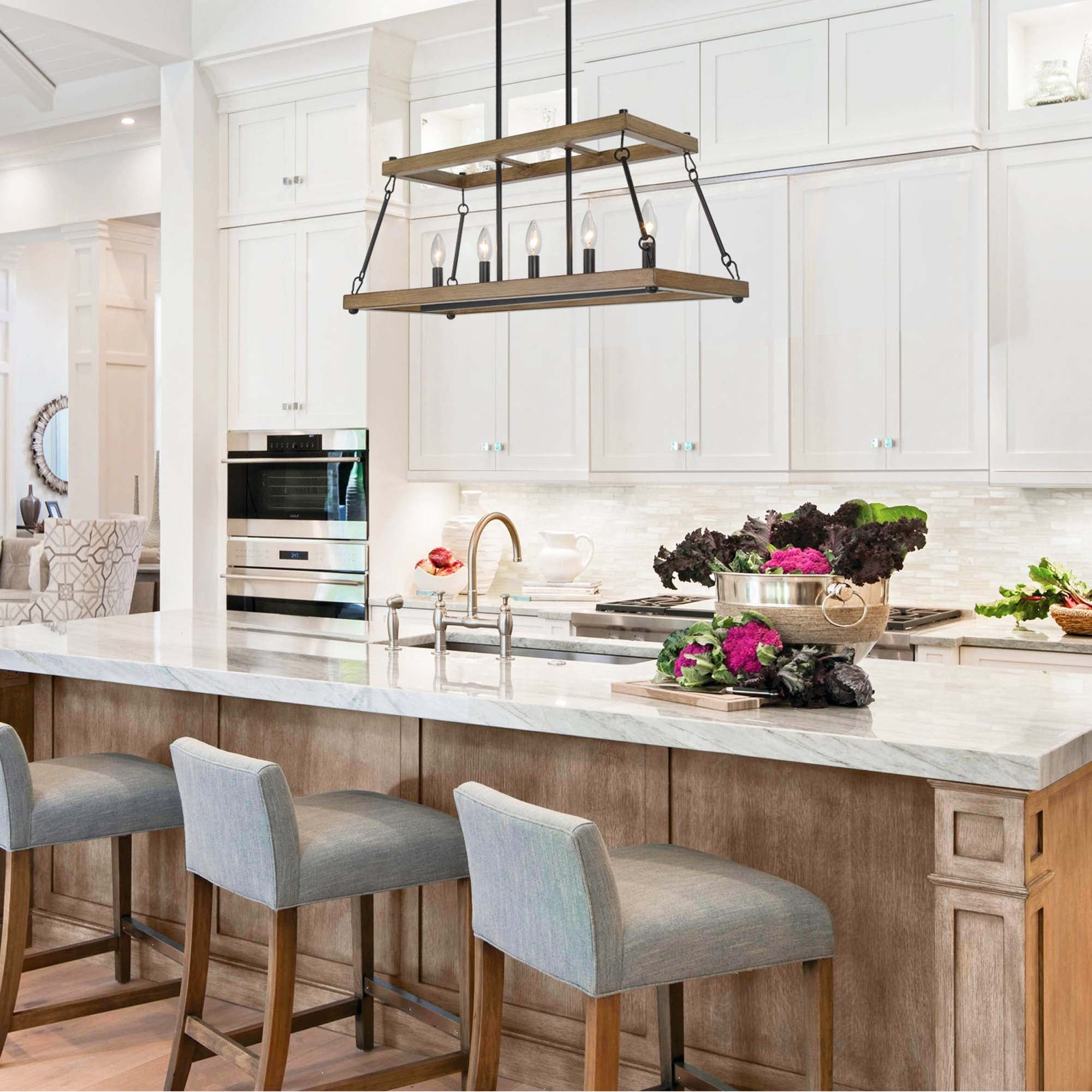 Modern Farmhouse 5 Light Faux Wood Grain And Antique Black Linear Chandelier For Kitchen Island L30 Xw12 Xh12 5 Overstock 32330492