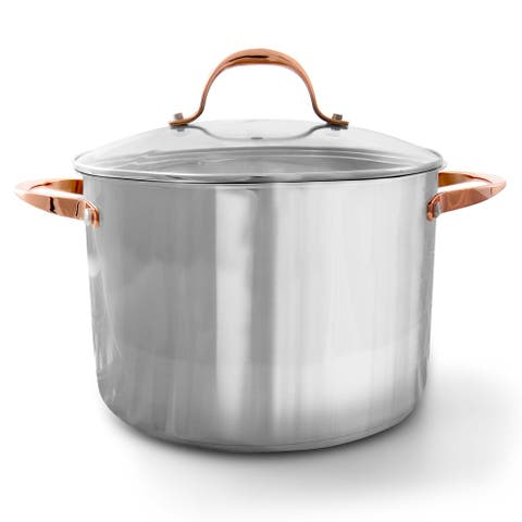 Oster Merrick 16 Quart Stainless Steel Stock Pot with Tempered Glass Lid