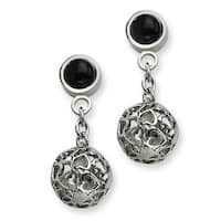 Chisel Stainless Steel Heart Cutouts Puffed Circle with Onyx Post Dangle Earrings