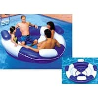 "84"" Inflatable Blue and White Sofa Island Swimming Pool Lounger"