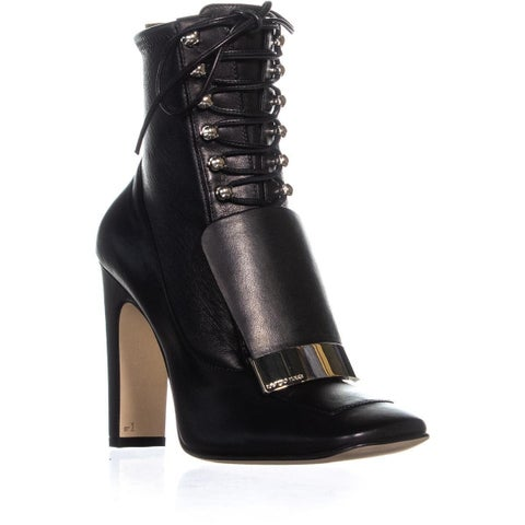 Sergio Rossi A79700 Lace Up Heeled Boots, Black - 7.5 US / 37.5 EU