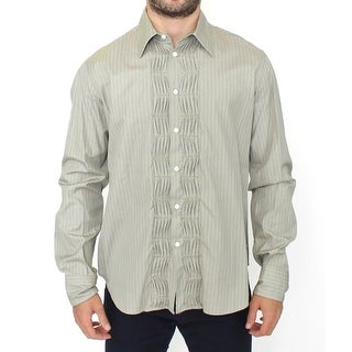 Ermanno Scervino Green Striped Cotton Casual Long Sleeve Shirt - it50-l
