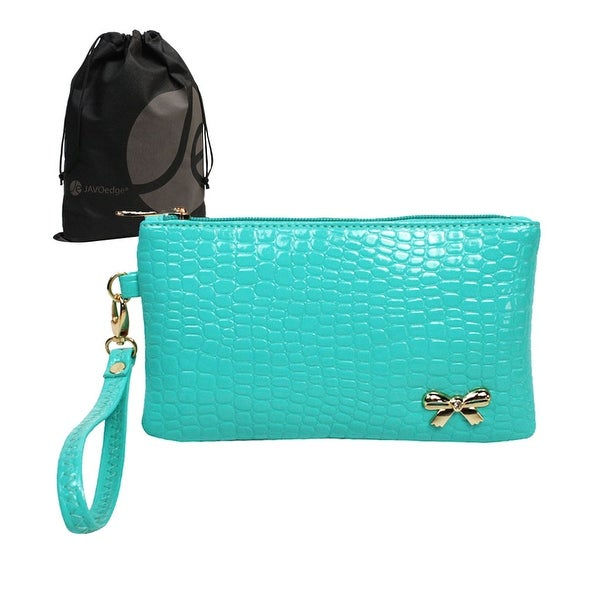 Crocodile Pattern Clutch with Gold Ribbon, Wristlet and Bonus Drawstring Bag