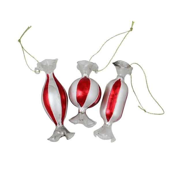 3ct Striped Red and White Candy Shaped Glass Christmas Ornament Set