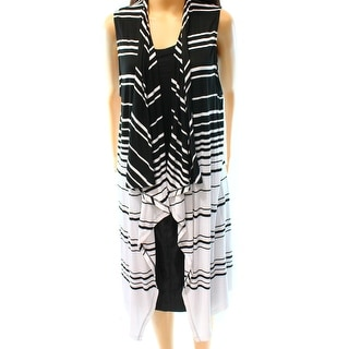 INC NEW Black Women's Size Large L Striped Vest Sleeveless Sweater