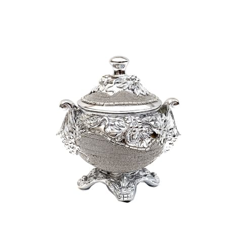 Ambrose Chrome Plated Crystal Embellished Lidded Ceramic Bowl (9 In. x 7 In. x 9.5 In.)