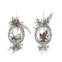 "Club Pack of 12 Icy Crystal Christmas Oval Inlaid Bird Ornaments 5.5"" - CLEAR"