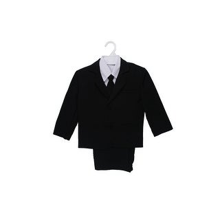 Wallao Boys Formal Suit Set with Shirt and Vest Black