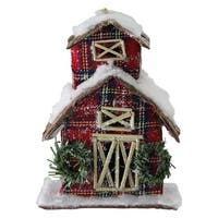 "5"" Classic Red Plaid Glitter Snow Covered Barn Christmas Ornament"
