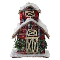 "5"" Holiday Moments Classic Red Plaid Glitter Snow Covered Barn Christmas Ornament"