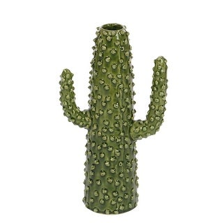 Desert Bloom Glossy Green Ceramic Cactus Shaped Vase 12 inch - 12 X 7.25 X 5 inches