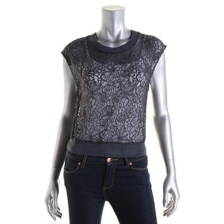 Bailey 44 Womens Lace Ribbed Trim Pullover Top - M