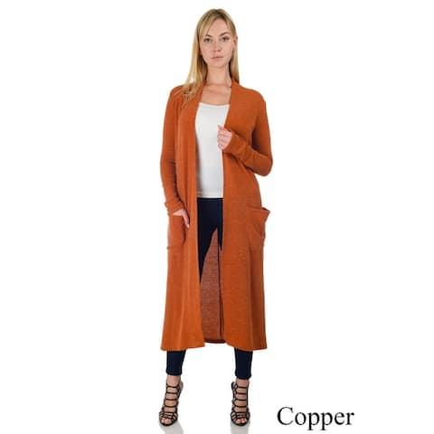 Simply Ravishing Women's Knit Long Sleeve Open Drape Maxi Duster Long Cardigan w/ Pockets (Size: S-5X)