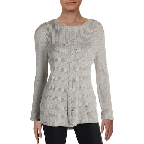 Design History Womens Sweater Knit Wide Neck - Grey Donegal
