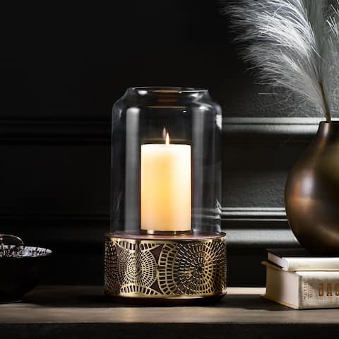"""Mondell Boho Handcrafted Mango Wood Hurricane Candle Holder by Christopher Knight Home - 7.25"""" L x 7.25"""" W x 12.00"""" H"""