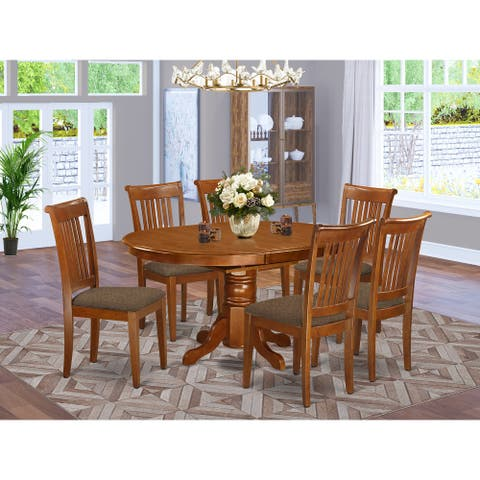 7-piece Kitchen Set - Oval Dining Table with Leaf and 6 Chairs in Saddle Brown Finish (Pieces Option)