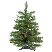 2' Pre-Lit LED Canadian Pine Artificial Christmas Tree - Clear Lights - green